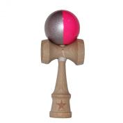 Split Pink Silver Stripe Super Kendama Shinny,vertical Stripe, Super Sticky, Japanese Wooden Toy, Free String, USA Seller