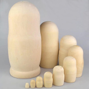 Set of 10pcs Unpainted Russian Nesting Doll , Blank Doll , Make Your Own Doll , 25cm High , Pre-Sanded And Ready to Paint