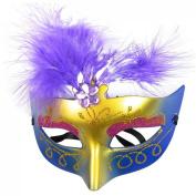 TOOGOO(R) Women Purple Powder Feather Decor Plastic Fancy Ball Venetian Mask