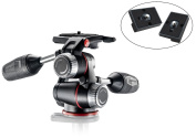 Manfrotto MHXPRO3W X-PRO 3-Way Head with Retractable Levers and Friction Controls with Two Replacement Quick Release Plates for the RC2 Rapid Connect Adapter