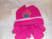 Hat & Mits Set with ears (Word & Motif of Cupcake) Colour Deep Pink