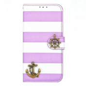 Ukamshop(TM)Stripes Anchor Rudder Wallet Flip Case For iPhone 6 Plus 14cm