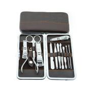 surker Creative 12pc Tool Manicure Pedicure Set Nail Clipper Scissors Grooming Kit case PCPA00002