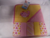 Baby Hooded Towel with 5 Wash Cloths Lemon Bird