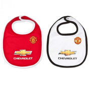 Manchester United FC Official Football Gift 2 Pack Kit Baby Bibs