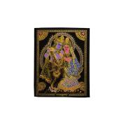 Indian God Couple Radha Krishan Glitter Rubber Printed Frameless Velvet Cloth Painting