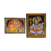 Indian Lord Ganesha and Shiva Printed Sequins Work Cotton Frameless Paintings