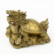 Feng Shui Brass Bagua Dragon Tortoise on the Coin Statue Figurine M4001