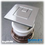 Thomas Dudley Vantage Piazza Dual Flush Square 73.5mm Pneumatic Push Button Chrome 325276