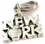 LOVELY SILVER NEW YORK WITH APPLE CLIP ON CHARM - TIBETIAN SILVER ALLOY - FREE P & P