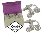 Bicycle Bike Cufflinks by Kitsch Cufflinks in a magnetic cufflink Box