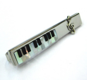 Tailor B Mother of Pearl and Onyx Piano Keyboard Tie Slide Music Tie Clip