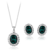 Emerald Oval Jewellery set MADE WITH AUSTRIAN. ELEMENTS, 18K White Gold Plated