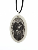 Handmade Celtic Saint Francis of Assisi Oval Porcelain Pendant
