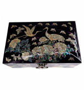 Purple fantasy jewellery box, mother of pearl decorations, special storage for rings. Asian luxury craft.