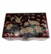 Red jewellery box, fancy Asian natural mother of pearl, traditional crafts of Korea, great gift idea woman