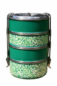 4 Tier Green Handpainted Tiffin
