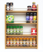 Solid Oak Spice Rack - Holds Up To 36 Spice and Herb Jars - Deep Capacity for Larger Jars and Bottles - 4 Tiers/Shelves