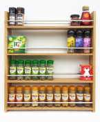Solid Oak Spice Rack - Holds Up To 44 Spice and Herb Jars - Deep Capacity for Larger Jars and Bottles - 4 Tiers/Shelves