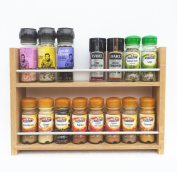 Solid Oak Spice Rack - Holds Up To 16 Spice and Herb Jars - Deep Capacity for Larger Jars and Bottles - 2 Tiers/Shelves
