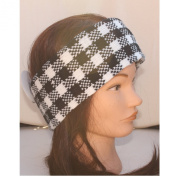 Black White Cheque Dogtooth Knitted Wide Winter Headband Ear Warmer