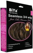 BiYa Hair Elements Thermatt Clip In Half 3/4 Wig Hair Extensions Natrual Wave, Faded Dark Brown Number 4b 60cm