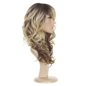 Hair By MissTresses Ombre Tri Tone Long Curly Wig Premium Human Hair Blend Bodywave Curls Dip Dyed Wigs with Sideswept Fringe