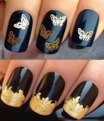 NAIL ART SET #537. A PACK OF x20 3D DECORATIONS & A LARGE GOLD LEAF SHEET FOR CUSTOM DESIGNED NAILS! GORGEOUS PRETTY DELICATE METALLIC GOLD BUTTERFLIES/BUTTERFLY 3D NAIL ART SHAPES/FLEXABLE CONFETTI/DIE CUT/DECORATIONS/FLEXIBLE ALLOYS/DECALS & STUNNING ..