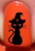 Halloween Witches Cat - Nail Decals by YRNails