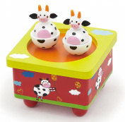 Viga Wind-Up Wooden Moo Cow Music Box #51192