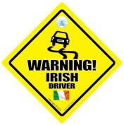 Warning Irish Driver Car Sign, Car Sign, Baby on board, Bad Driver, Novelty Car Sign, Bumper Sticker, Decal, Irish Driver, Country Sign