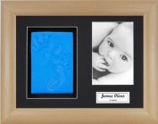 Anika-Baby BabyRice Baby Boy Handprint Footprint Kit Soft Blue Clay Dough Beech Effect Box Photo Display Frame