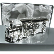 Christening Gift, Engraved Silver Plated Cute First Tooth and Curl Train and Carriage Set, Christening Gift Idea