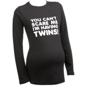 Can't Scare me...Twins LONG SLEEVE Slogan Maternity Black T-shirt