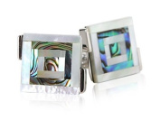 Abalone & Mother of Pearl Silver Cufflinks with Presentation Box