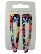 Pair of Bright Floral Print Black Hair Clips Snap Bendies Sleepies 6.5cm