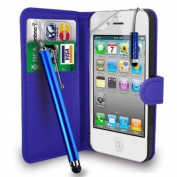 Apple iPhone 4S /4 - Premium Leather Wallet Flip Case Cover Pouch + Long Touch Stylus Pen + Mini Touch Stylus Pen + Screen Protector & Polishing Cloth