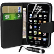 Supergets® Samsung Galaxy Ace S5830 Wallet Design Case, Screen Protector,Touch Screen Stylus And Polishing Cloth