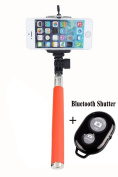 UFCIT(TM) Extendable Self Portrait Selfie Handheld Stick Monopod with Smartphone Adjustable Phone Holder and Bluetooth Remote Wireless Shutter for iPhone Samsung and other IOS and Android Smartphone