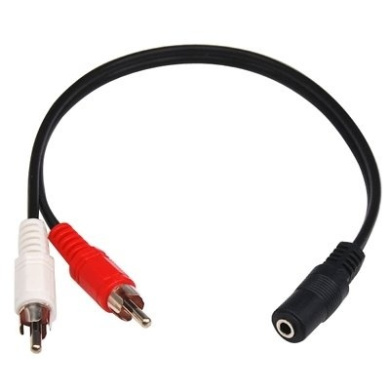 TRIXES Quality 3.5mm Stereo Jack Socket to 2 Phono / RCA Plugs Cable 25cm