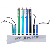 Universal Stylus Pen Bundle including 4 Long Stylus Pens and 4 Short Stylus Pens also Compatible with All Capacitive Touchscreen Devices inlcuding Android Tablets, iPod Touch, iPhone, for Samsung Galaxy Tablet and more / plus 1 ECO-FUSED Microfiber Clean