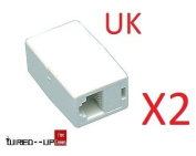 2 x RJ45 Coupler for Patch / Ethernet Leads Cat5, Cat5e & Cat6 - BEST PRICE IN THE UK!