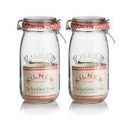 2 x 1.5L Kilner Glass Clip Top Jam Chutney Spice Herb Preserving Storage Jars