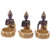 Gold, Brown & Glass Mosaic Thai Buddha Single Tealight Holder