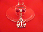 Silver Plated Libra Zodiac Sign Wine Glass Charm by Libby's Market Place