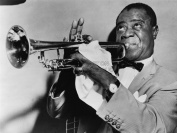 PHOTOGRAPHY BLACK WHITE MUSIC JAZZ LOUIS ARMSTRONG PLAYING TRUMPET JAZZ 30X40 CMS FINE ART PRINT ART POSTER BB8993