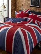 Single Duvet Cover Set Navy Blue Red Union Jack Printed Modern Bedding Set 0.9m Bed