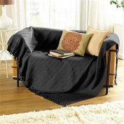 Collie ZigZag Black Grey Bed Chair Sofa Settee Cotton Throw Blanket With Tassels Extra Large 170cm x 200cm