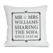 Mr and Mrs Sharing Sofa Personalised Cushion - Personalised with NAME and DATE