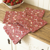 William Morris Red Strawberry Thief Pack Of 4 100% Cotton Floral Napkins